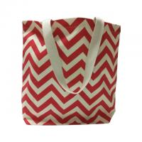 Best Wave Picture Red Custom Made Canvas Bags / Tote Shopper Bag wholesale