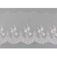 Best Embroidered Floral Lace Fabric Scolloped Edging Nylon Mesh Cotton Lace Bridal Ribbon wholesale