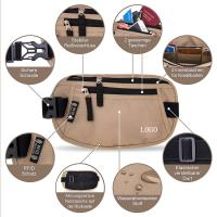 Best Light Brown Waist RFID Travel Bags Wallet  for Passport / Cash / Sport wholesale