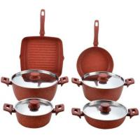 Best stainless steel lid red stone aluminum color cookware set 10 pcs FDA approval wholesale