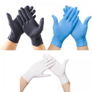 Best Black Nitrile Disposable Gloves Powder Free Non Allergic For Adult wholesale