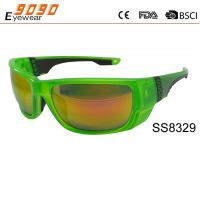 2017 hot sale style sports sunglasses with green frame  and mirrror lens