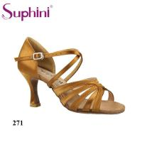 China Dark Tan Vamp Flare Low Heel Practice Latin Shoes Women on sale