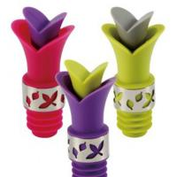 China Useful Lily Wine Bottle Stoppers Silicone 2 in 1 Durable Wine Pourer and stopper on sale