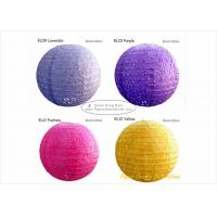 China 35cm Eyelet Pink Round Paper Lanterns with Metal Wire material 14 inch on sale