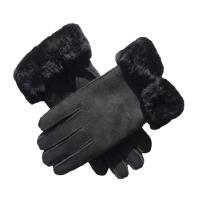 Best Ladies Shearing Wool Lined Leather Gloves , Leather Hand Gloves For Winter wholesale