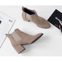 Best Flat Toe Ankle Length Boots / Suede Mid Heel Chelsea Boots With Elastic Band wholesale