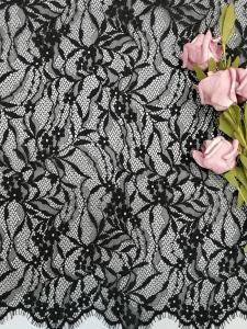 China Black French Chantilly Lace Fabric Light Eyelash Lace Fabric With Scallop on sale