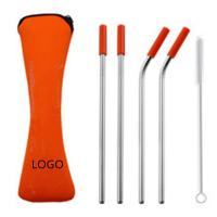 Best Stainless Steel Drinking Straw with Cleaner in Neoprene Bag OEM Stainless Steel Drinking Straw wholesale