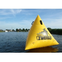 Best Triathlon Race 1.5m Yellow Custom Logo Floating Triangle ShapeInflatable Marker Buoy For Water Event wholesale