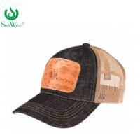 Best Multi - Panel Sport Custom Printed Baseball Hats With Leather Patch wholesale