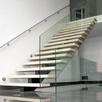 Cheap Customized Modern Teak Stair Treads Mono Steel Stringer Wood Staircase for sale