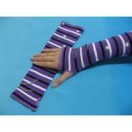 Best Comfortable Cotton / Polyamide / Spandex Purple + White + Black Striped Ladies Arm Warmer Knit wholesale