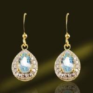 Best Genuine Stone Blue Topaz Earring Jewelry (ESH3273B) wholesale