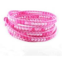 Cheap 5 Rows Pearl Beads Leather Wrap Bracelet, Pink Agate Wrap Bracelet, Leather Wrap for sale