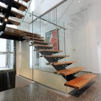 Best Stainless Steel Glass Straight Staircase Price / Residential Steel Glass Stairs wholesale