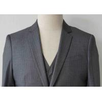 China Stripe Mens Light Gray 3 Piece Suit Worsted Wool Flat Pocket Japanese Style on sale