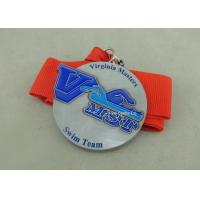 China Zinc Alloy Swimming Award Ribbons Medals , Die Stamped Ribbon Personalised Medals on sale