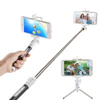Wireless Bluetooth Monopod Selfie Stick Self Portrait Video Built-in Remote Shutter Button