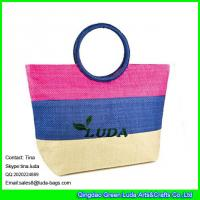 China LUDA striped straw beach bag ring fashion lady straw handbag paper straw on sale