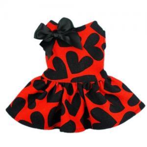 Best Red Cloth&Black Heart Pattern Pet Dog Wedding Dresses For Dog wholesale