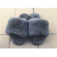 Best Thick Wool Grey Sheep Wool Slippers Open Toe Warm Fur For Winter Indoor wholesale