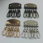 Best Leather Key Case Wallets Unisex Keychain zinc alloy Key Holder Ring with 6 Hooks Snap Closure wholesale