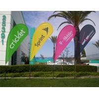Best Advertising Teardrop Flags Custom , Full Color Open Feather Flags Signs Spike Base wholesale