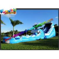 China 0.55mm PVC Tarpaulin Blue Commercial Grade Inflatable Water Slide for Adult on sale