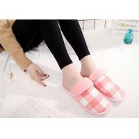 Best Round Toe Comfortable House Slippers For Women Cotton Fabric Lattice Pattern Upper wholesale