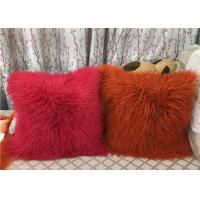 Best Long Mongolian sheepskin Pillow Two Toned Tibetan lamb fur cushion pillow cover wholesale