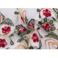 Best Embroidered Lace Dress Fabric , Corded Lace Fabric Floral Tulle For Dressmaking wholesale