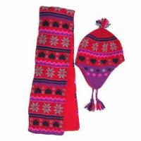 China Acrylic double-layer jacquard knitted scarf and hat for children on sale