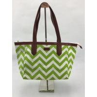 Best Eco Friendly Reusable Shopping Bags Green Wavy Pattern With Pouch OEM / ODM Available wholesale