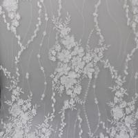 Best Delicate Embroidery Polyester On Nylon Mesh Lace Fabric With 3D Flower Design wholesale