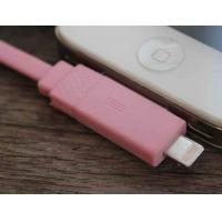 Cheap IPhone4S / IPhone5 Flat Micro USB Cable 1M TPE 2 In 1 Pink For Sync Data for sale