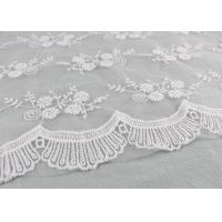 Best Floral Embroidery Bridal Scalloped Edges Lace Fabric For Off White Wedding Gowns wholesale