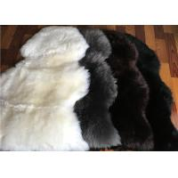 Best Long Wool Cream Fur Throw Blanket , Single Pelt Black And White Throw Blanket 60 X 90cm wholesale