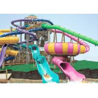 Best Giant Swimming Pool Water Slides , FRP Outdoor Pool Slide 14.6m Platform For Adults wholesale
