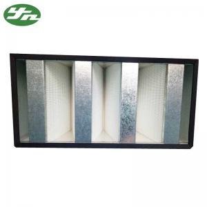 Best Galvanized Frame Mini Pleat HEPA Filter / V Bank HEPA Filter For Clean Room wholesale