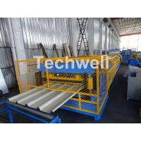 Best Customized Trapezoidal Profile Roof Roll Forming Machine With Hydraulic Post Cutting Device wholesale