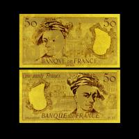 Best 24K Gold Plated 50 Franc Gold Foil Banknote Double Logo Design , Value Collection wholesale