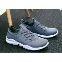Best Gray White Mesh Upper Slip On Sports Shoes , Korean Trend Mens Jogging Trainers wholesale