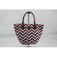 Best Wavy Pattern Custom Canvas Tote Bags Pretty Design With Inner With Zipper Pocket wholesale