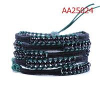 Cheap OEM Green Long Leather Wrap Bracelets 82cm For Boys / Girls / Children for sale