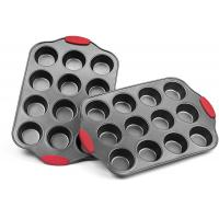 Best Professional manufacturer Nonstick Muffin Pan with Silicone Handles Cupcake Maker 2 Pans wholesale