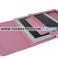 Cheap Book Type Leather Case with Flip Stand for iPad 2 - Pink for sale