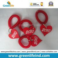 Best Promotional Solid Red Wrist Coil Strap W/Heart Number Tag wholesale