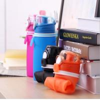Flexible FDA Liquid Silicone Wide Opening 550ml Collapsible Outdoor Travelling Water Drinking Bottle
