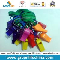 Best High Quality Eco-friendly Plastic PS Colorful Whistles 5.6x1.8cm with Green Lanyard 45cm Length wholesale